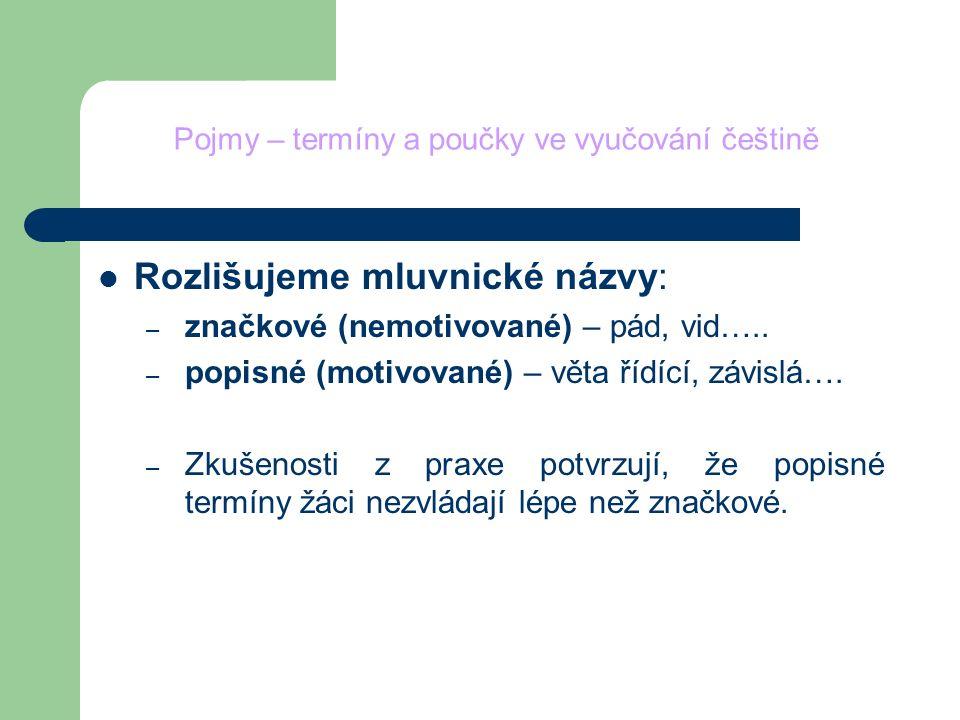 Pojmy – termíny a poučky ve vyučování češtině Rozlišujeme mluvnické názvy: – značkové (nemotivované) – pád, vid….. – popisné (motivované) – věta řídíc