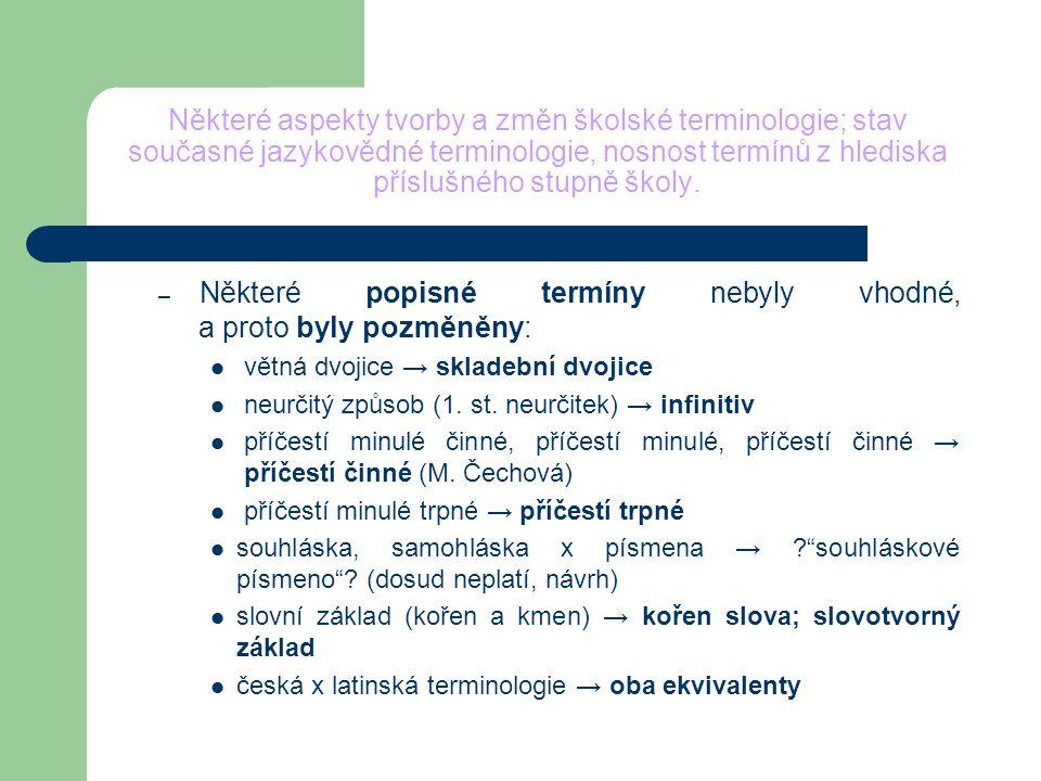 Některé aspekty tvorby a změn školské terminologie; stav současné jazykovědné terminologie, nosnost termínů z hlediska příslušného stupně školy. – Něk