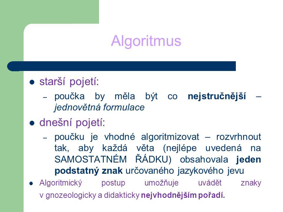 Algoritmus starší pojetí: – poučka by měla být co nejstručnější – jednovětná formulace dnešní pojetí: – poučku je vhodné algoritmizovat – rozvrhnout t