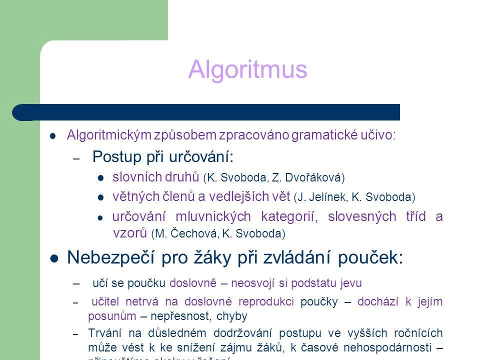 Algoritmus Algoritmickým způsobem zpracováno gramatické učivo: – Postup při určování: slovních druhů (K. Svoboda, Z. Dvořáková) větných členů a vedlej