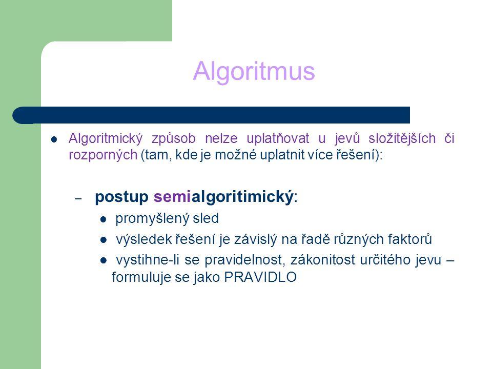 Algoritmus Algoritmický způsob nelze uplatňovat u jevů složitějších či rozporných (tam, kde je možné uplatnit více řešení): – postup semialgoritimický