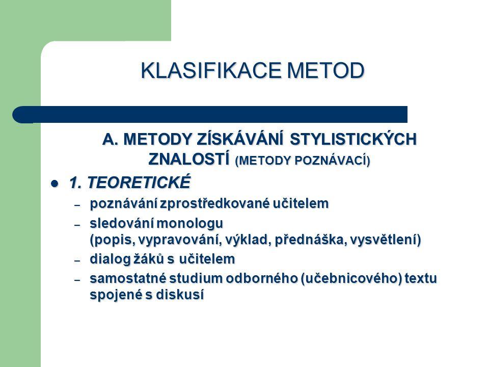 KLASIFIKACE METOD A. METODY ZÍSKÁVÁNÍ STYLISTICKÝCH ZNALOSTÍ (METODY POZNÁVACÍ) 1. TEORETICKÉ 1. TEORETICKÉ – poznávání zprostředkované učitelem – sle