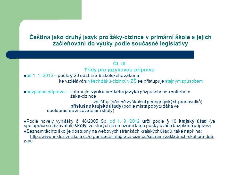 Čeština jako druhý jazyk pro žáky-cizince v primární škole a jejich začleňování do výuky podle současné legislativy Čl. III Třídy pro jazykovou přípra