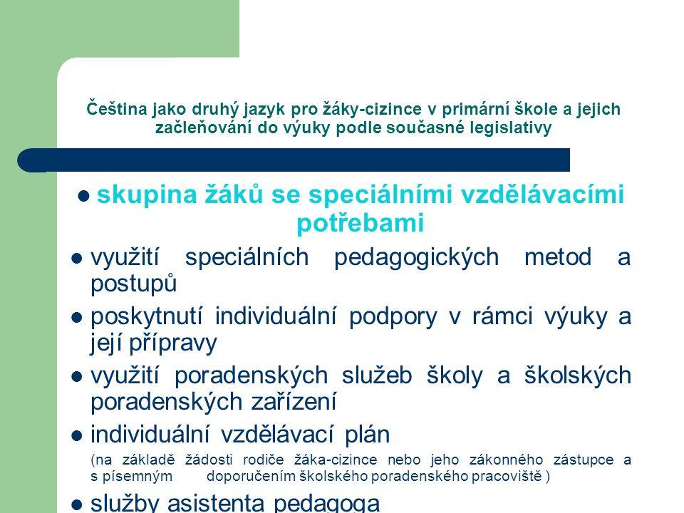 Čeština jako druhý jazyk pro žáky-cizince v primární škole a jejich začleňování do výuky podle současné legislativy skupina žáků se speciálními vzdělá