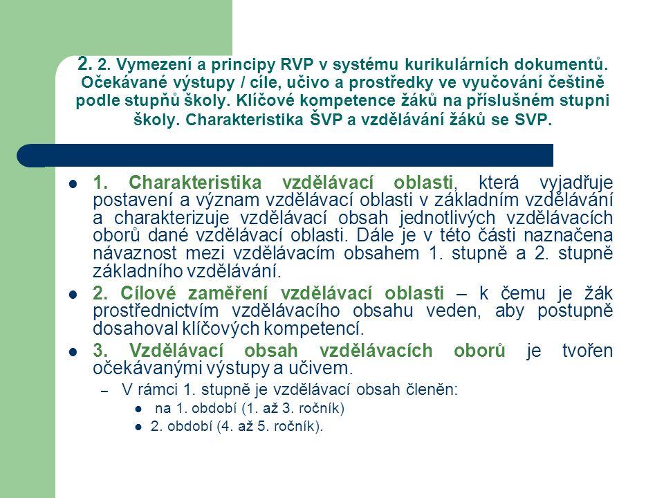2. 2. Vymezení a principy RVP v systému kurikulárních dokumentů. Očekávané výstupy / cíle, učivo a prostředky ve vyučování češtině podle stupňů školy.