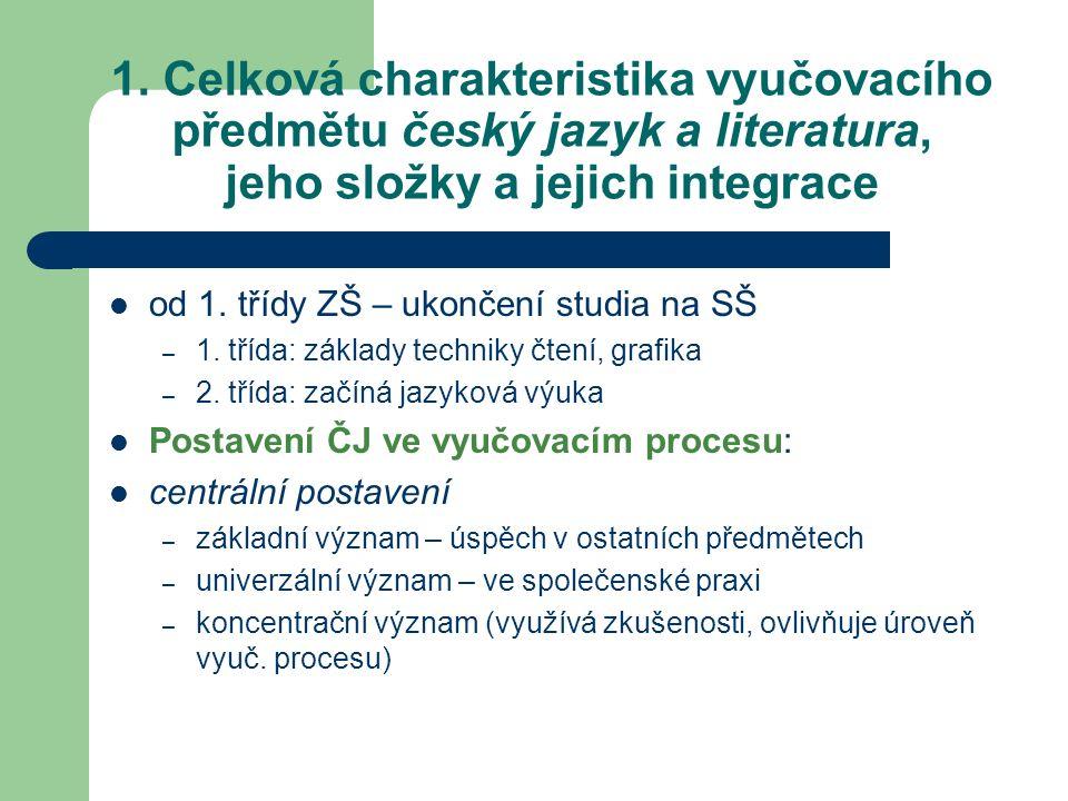 1. Celková charakteristika vyučovacího předmětu český jazyk a literatura, jeho složky a jejich integrace od 1. třídy ZŠ – ukončení studia na SŠ – 1. t