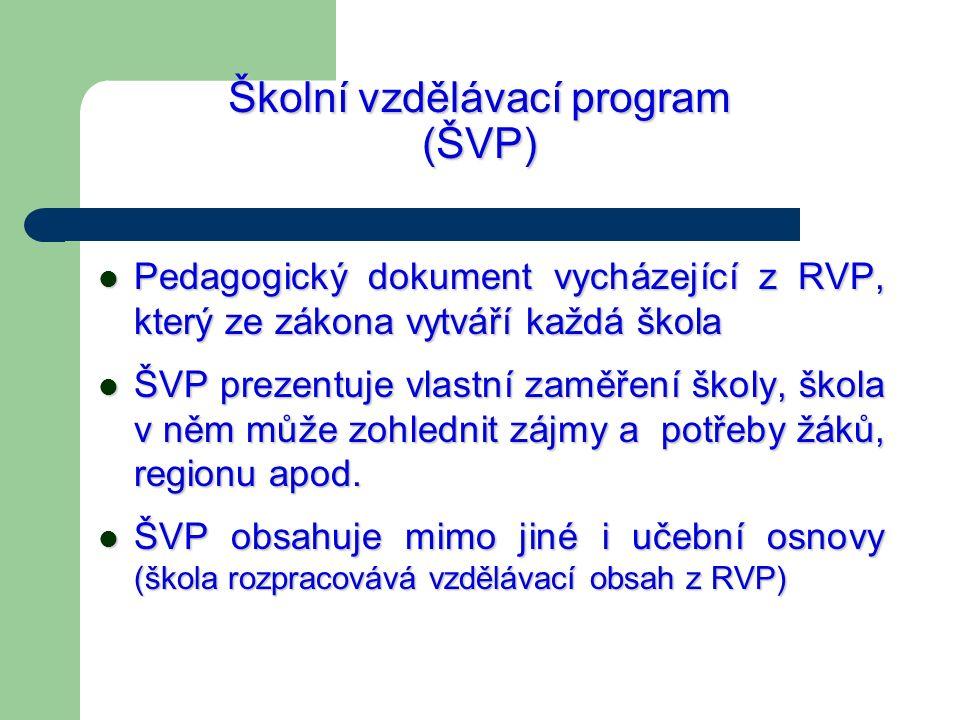 Školní vzdělávací program (ŠVP) Pedagogický dokument vycházející z RVP, který ze zákona vytváří každá škola Pedagogický dokument vycházející z RVP, kt