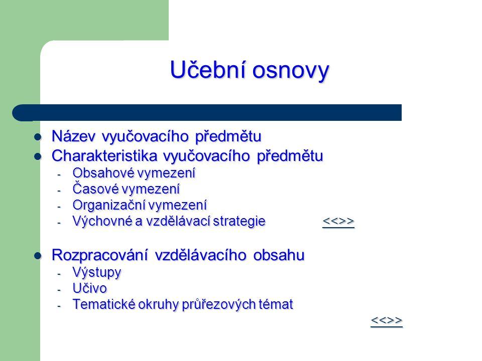Učební osnovy Název vyučovacího předmětu Název vyučovacího předmětu Charakteristika vyučovacího předmětu Charakteristika vyučovacího předmětu - Obsaho