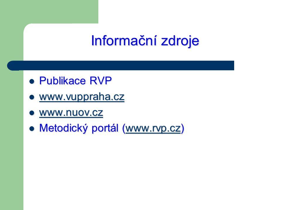 Informační zdroje Publikace RVP Publikace RVP www.vuppraha.cz www.vuppraha.cz www.vuppraha.cz www.nuov.cz www.nuov.cz www.nuov.cz Metodický portál (ww
