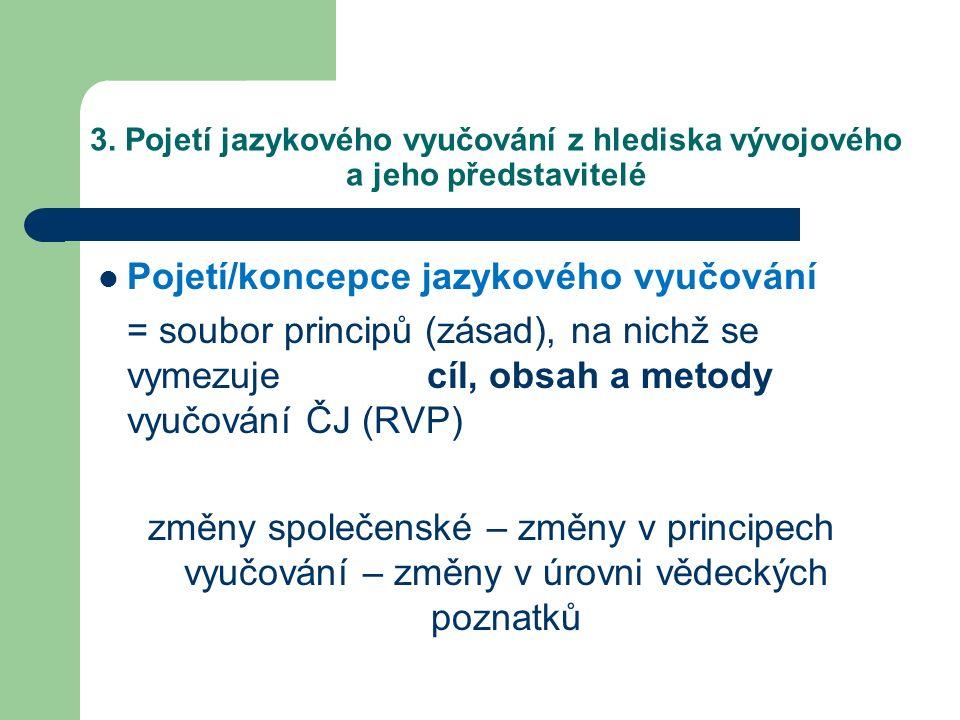 3. Pojetí jazykového vyučování z hlediska vývojového a jeho představitelé Pojetí/koncepce jazykového vyučování = soubor principů (zásad), na nichž se