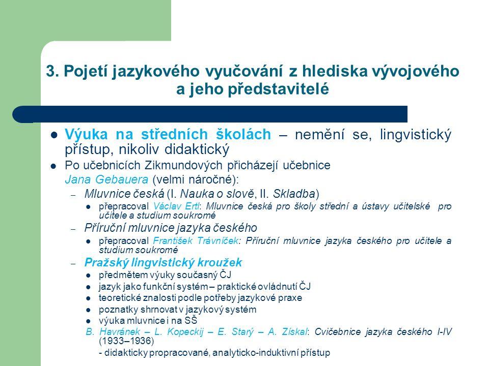 3. Pojetí jazykového vyučování z hlediska vývojového a jeho představitelé Výuka na středních školách – nemění se, lingvistický přístup, nikoliv didakt