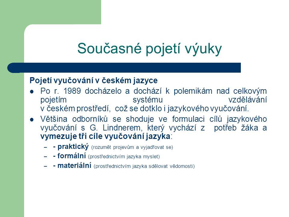Současné pojetí výuky Pojetí vyučování v českém jazyce Po r. 1989 docházelo a dochází k polemikám nad celkovým pojetím systému vzdělávání v českém pro