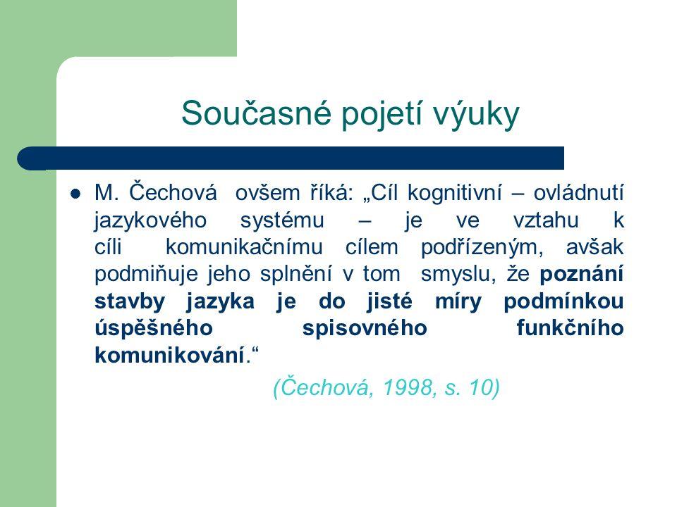"""Současné pojetí výuky M. Čechová ovšem říká: """"Cíl kognitivní – ovládnutí jazykového systému – je ve vztahu k cíli komunikačnímu cílem podřízeným, avša"""
