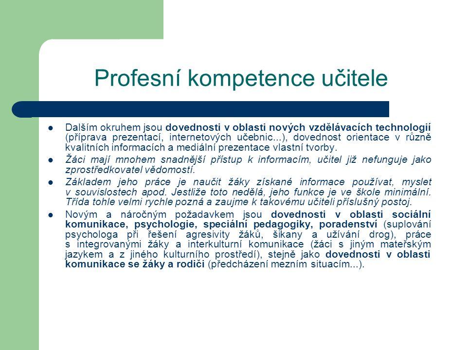 Profesní kompetence učitele Dalším okruhem jsou dovednosti v oblasti nových vzdělávacích technologií (příprava prezentací, internetových učebnic...),