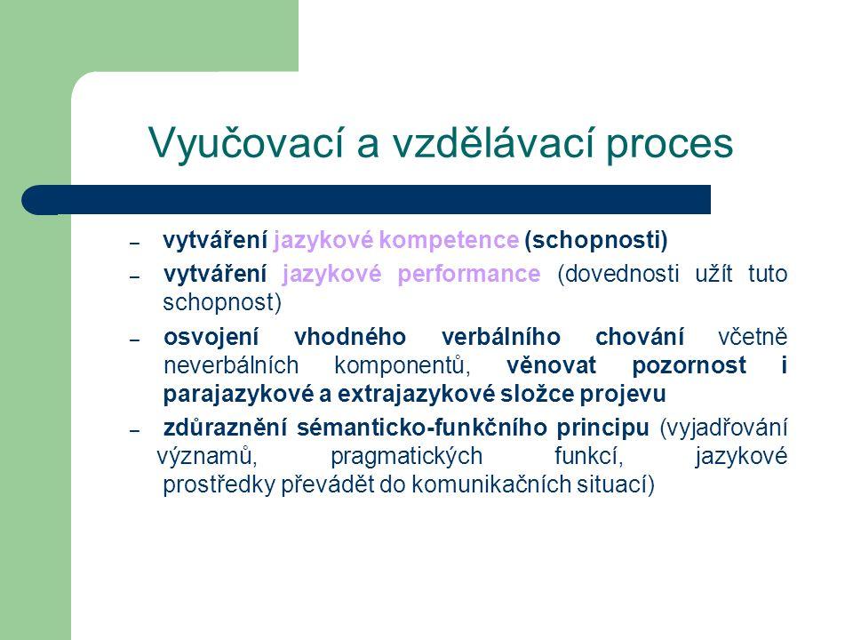 Vyučovací a vzdělávací proces – vytváření jazykové kompetence (schopnosti) – vytváření jazykové performance (dovednosti užít tuto schopnost) – osvojen