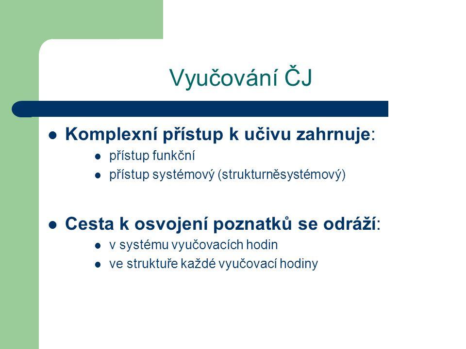 Vyučování ČJ Komplexní přístup k učivu zahrnuje: přístup funkční přístup systémový (strukturněsystémový) Cesta k osvojení poznatků se odráží: v systém