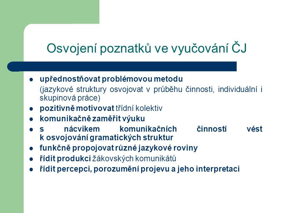 Osvojení poznatků ve vyučování ČJ upřednostňovat problémovou metodu (jazykové struktury osvojovat v průběhu činnosti, individuální i skupinová práce)