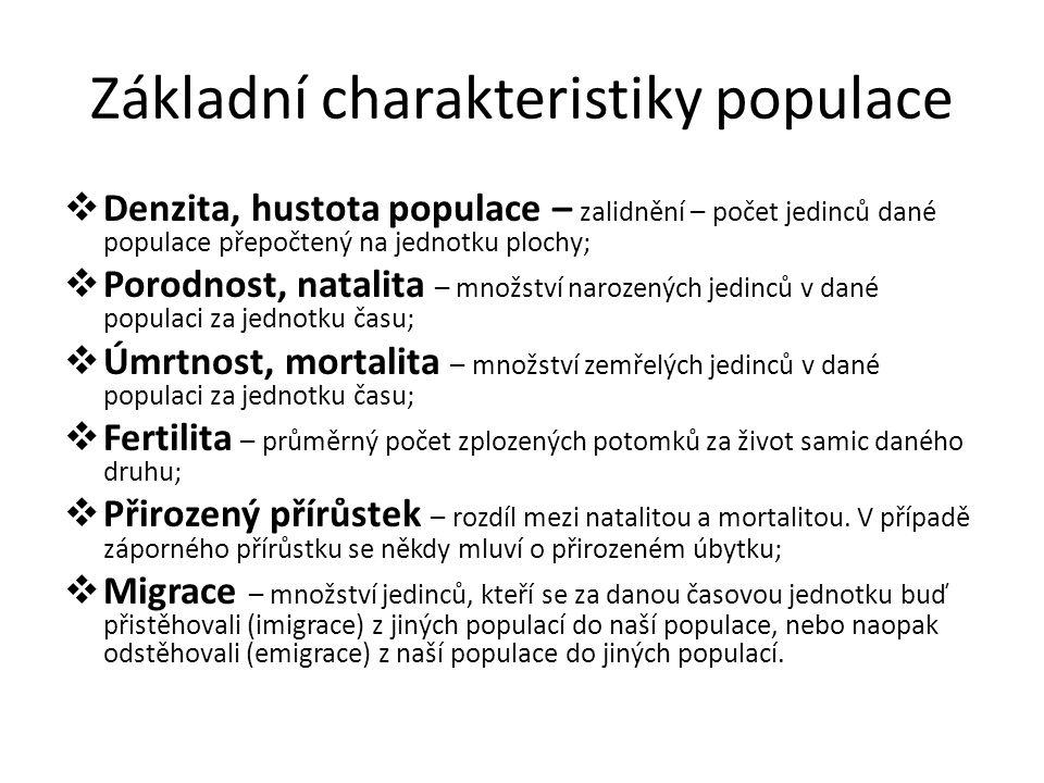 Základní charakteristiky populace  Denzita, hustota populace – zalidnění – počet jedinců dané populace přepočtený na jednotku plochy;  Porodnost, na