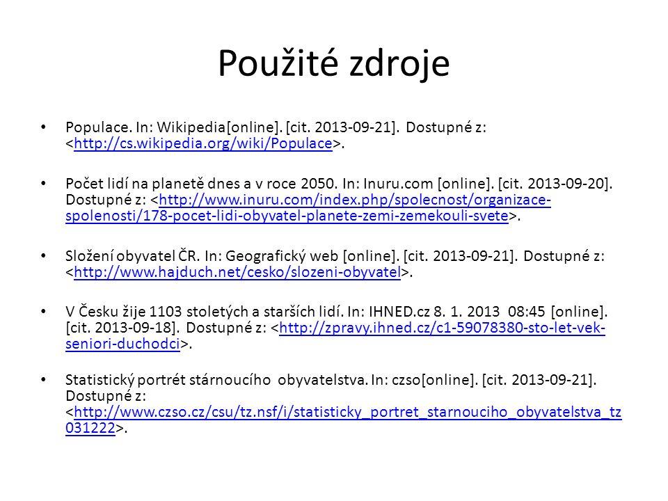 Použité zdroje Populace. In: Wikipedia[online]. [cit. 2013-09-21]. Dostupné z:.http://cs.wikipedia.org/wiki/Populace Počet lidí na planetě dnes a v ro