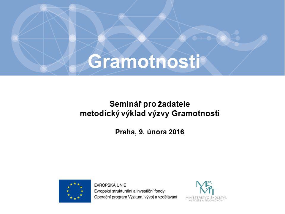 Název kapitoly Text Seminář pro žadatele metodický výklad výzvy Gramotnosti Praha, 9.