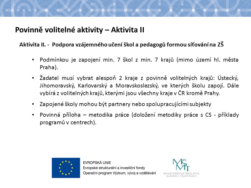 Název kapitoly Text Povinně volitelné aktivity – Aktivita II Aktivita II.