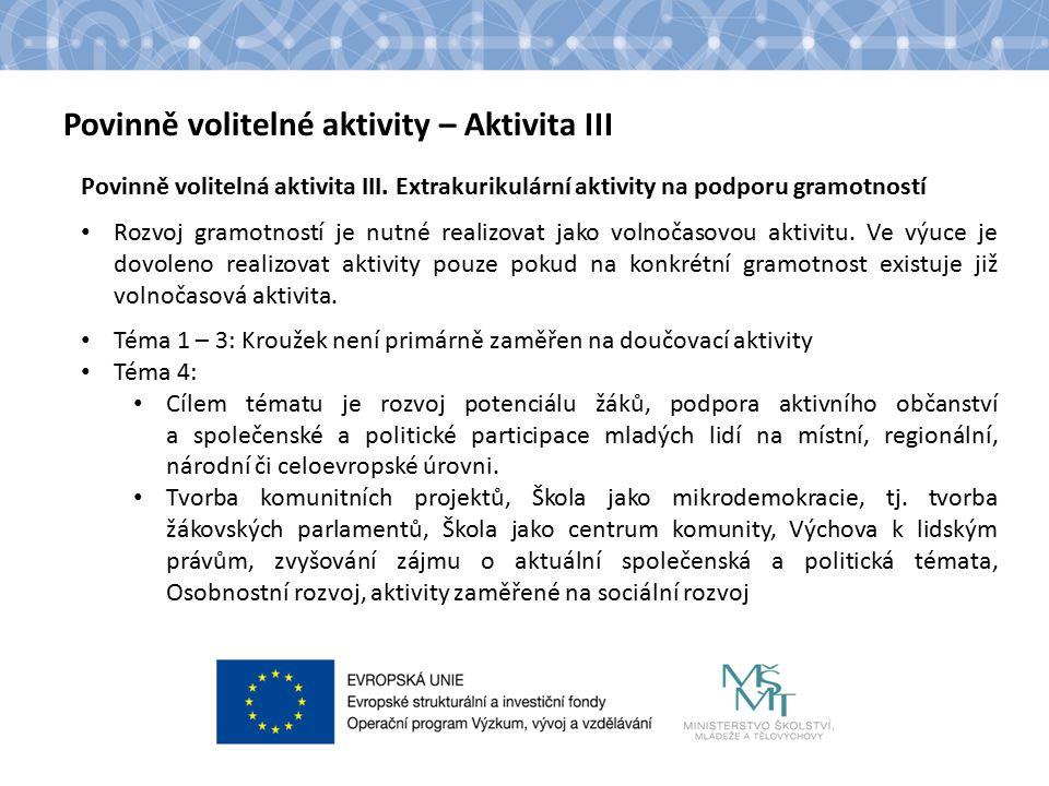 Název kapitoly Text Povinně volitelné aktivity – Aktivita III Povinně volitelná aktivita III.