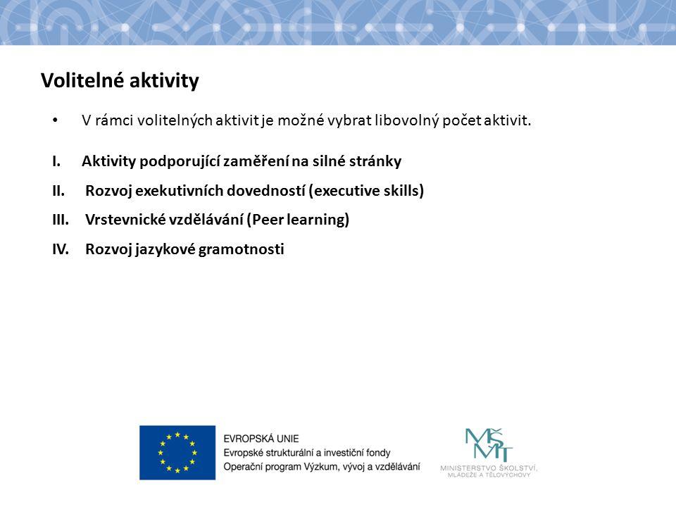 Název kapitoly Text Volitelné aktivity V rámci volitelných aktivit je možné vybrat libovolný počet aktivit.
