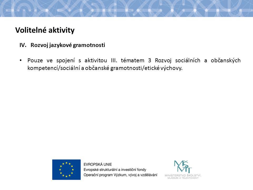 Název kapitoly Text Volitelné aktivity IV.Rozvoj jazykové gramotnosti Pouze ve spojení s aktivitou III.