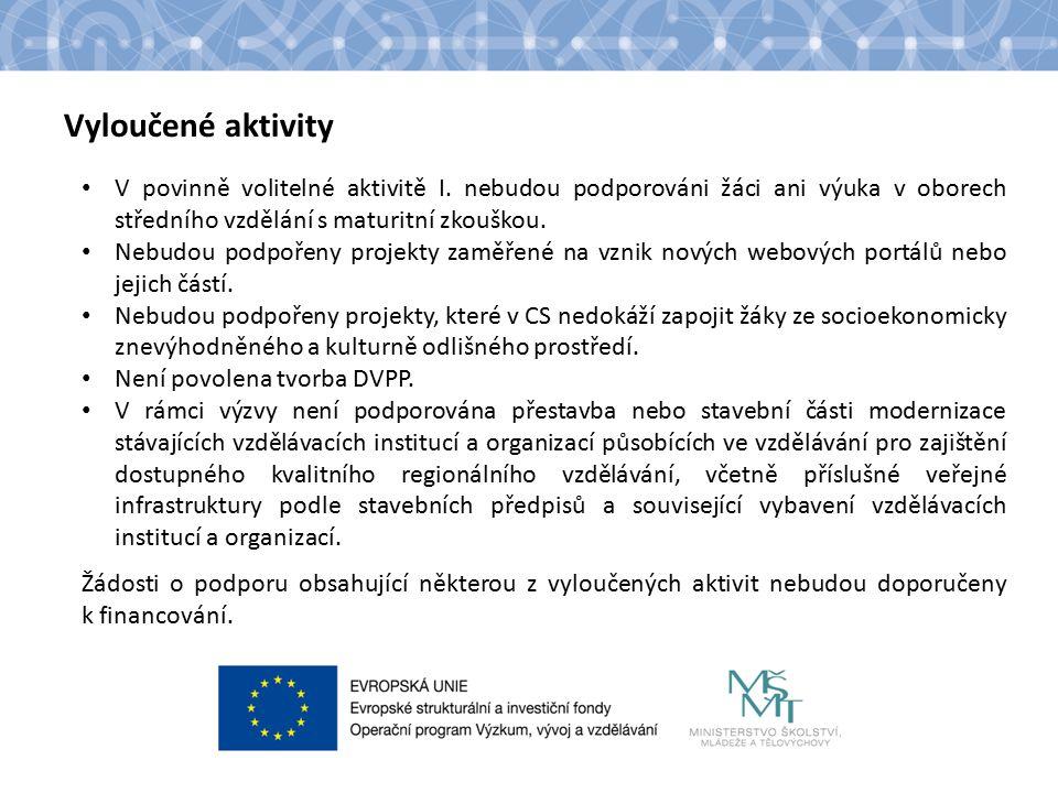 Název kapitoly Text Vyloučené aktivity V povinně volitelné aktivitě I.