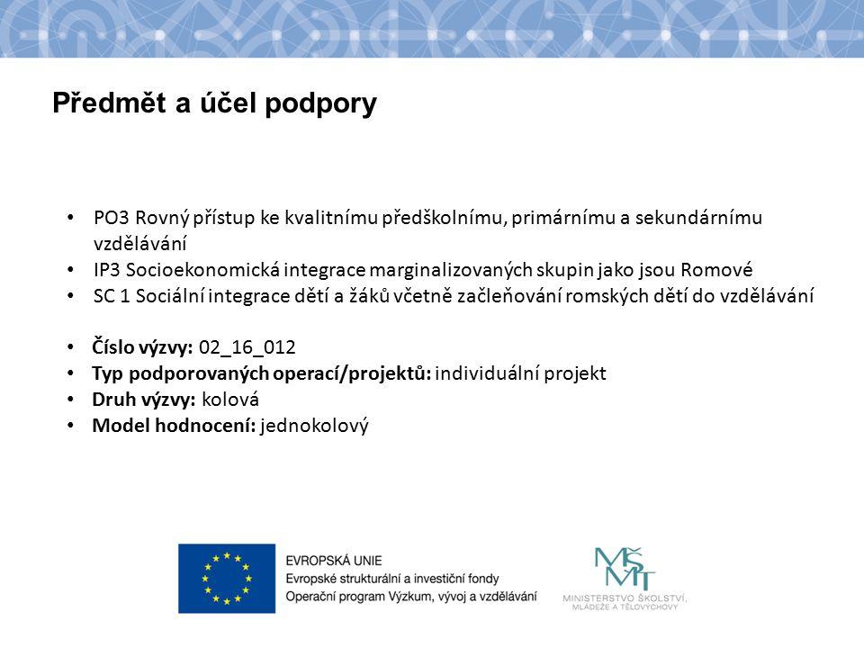 Název kapitoly Text Předmět a účel podpory PO3 Rovný přístup ke kvalitnímu předškolnímu, primárnímu a sekundárnímu vzdělávání IP3 Socioekonomická integrace marginalizovaných skupin jako jsou Romové SC 1 Sociální integrace dětí a žáků včetně začleňování romských dětí do vzdělávání Číslo výzvy: 02_16_012 Typ podporovaných operací/projektů: individuální projekt Druh výzvy: kolová Model hodnocení: jednokolový