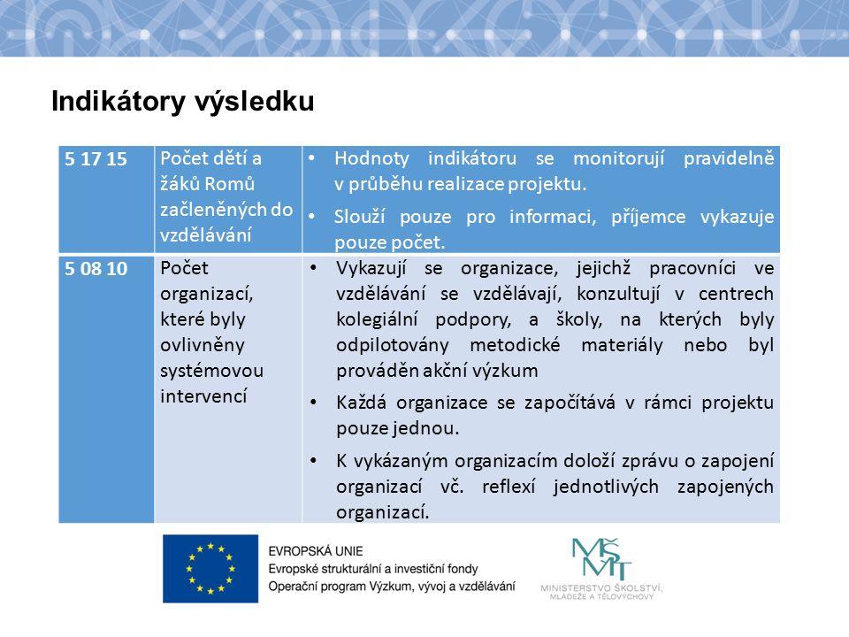 Název kapitoly Text Indikátory výsledku 5 17 15Počet dětí a žáků Romů začleněných do vzdělávání Hodnoty indikátoru se monitorují pravidelně v průběhu realizace projektu.