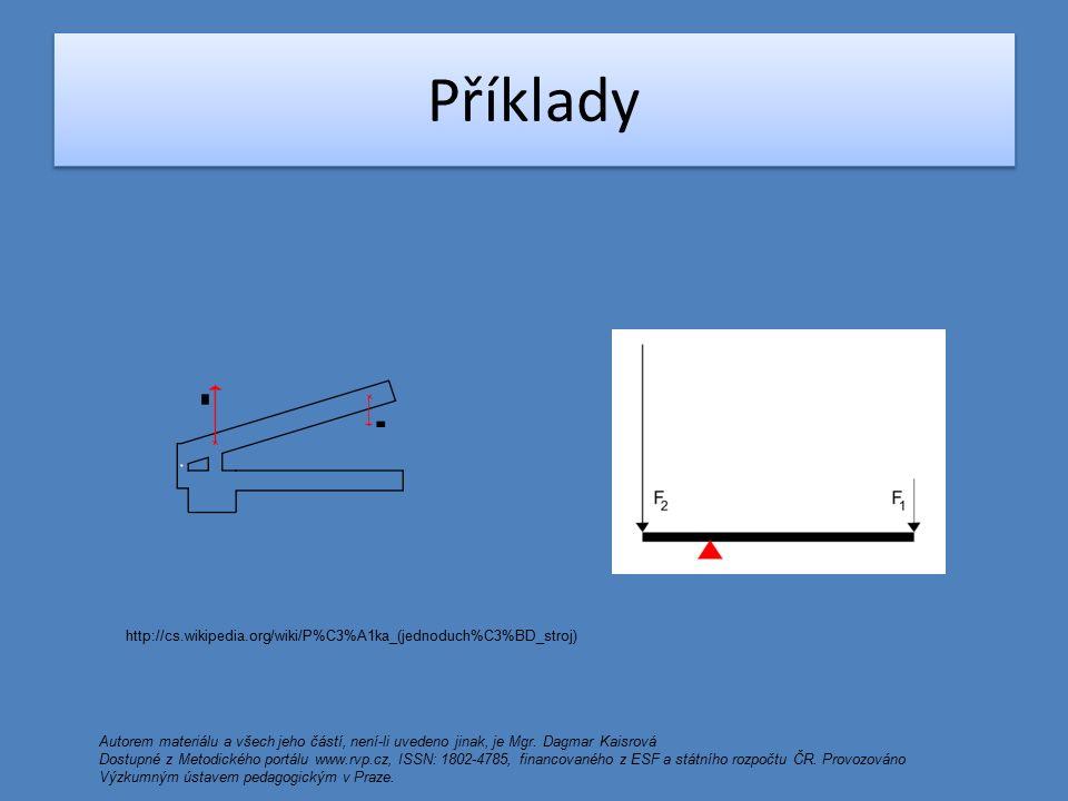 Praktické příklady http://cs.wikipedia.org/wiki/P%C3%A1ka_(jednoduch%C3%BD_stroj) Autorem materiálu a všech jeho částí, není-li uvedeno jinak, je Mgr.