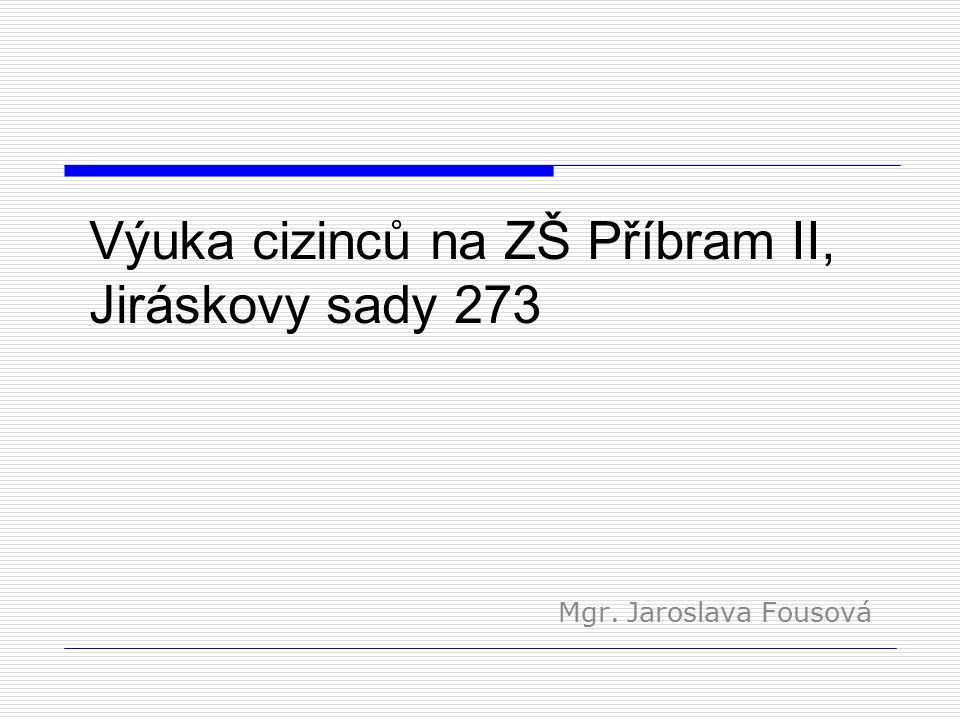 Výuka cizinců na ZŠ Příbram II, Jiráskovy sady 273 Mgr. Jaroslava Fousová