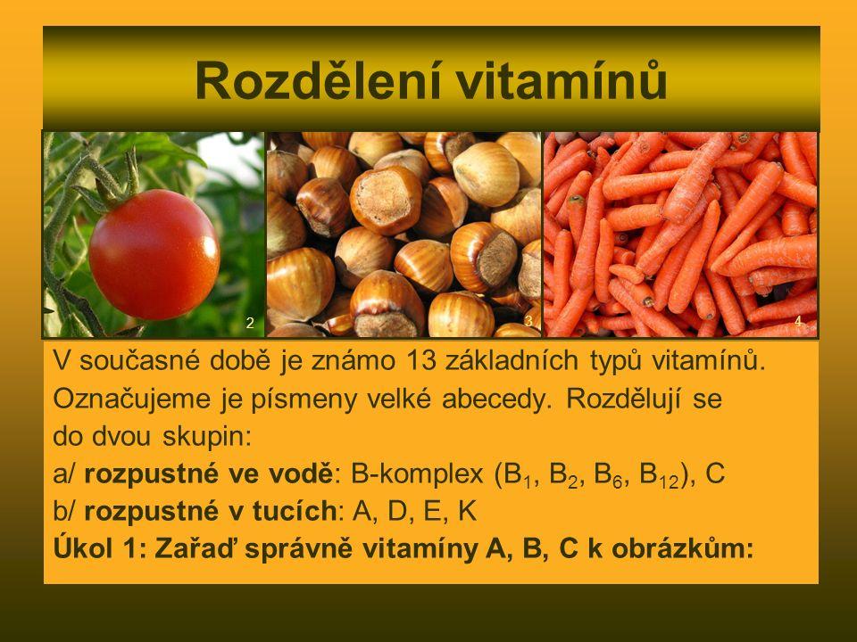 Rozdělení vitamínů V současné době je známo 13 základních typů vitamínů. Označujeme je písmeny velké abecedy. Rozdělují se do dvou skupin: a/ rozpustn