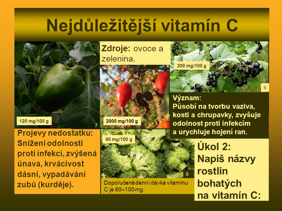 Nejdůležitější vitamín C Projevy nedostatku: Snížení odolnosti proti infekci, zvýšená únava, krvácivost dásní, vypadávání zubů (kurděje). Zdroje: ovoc