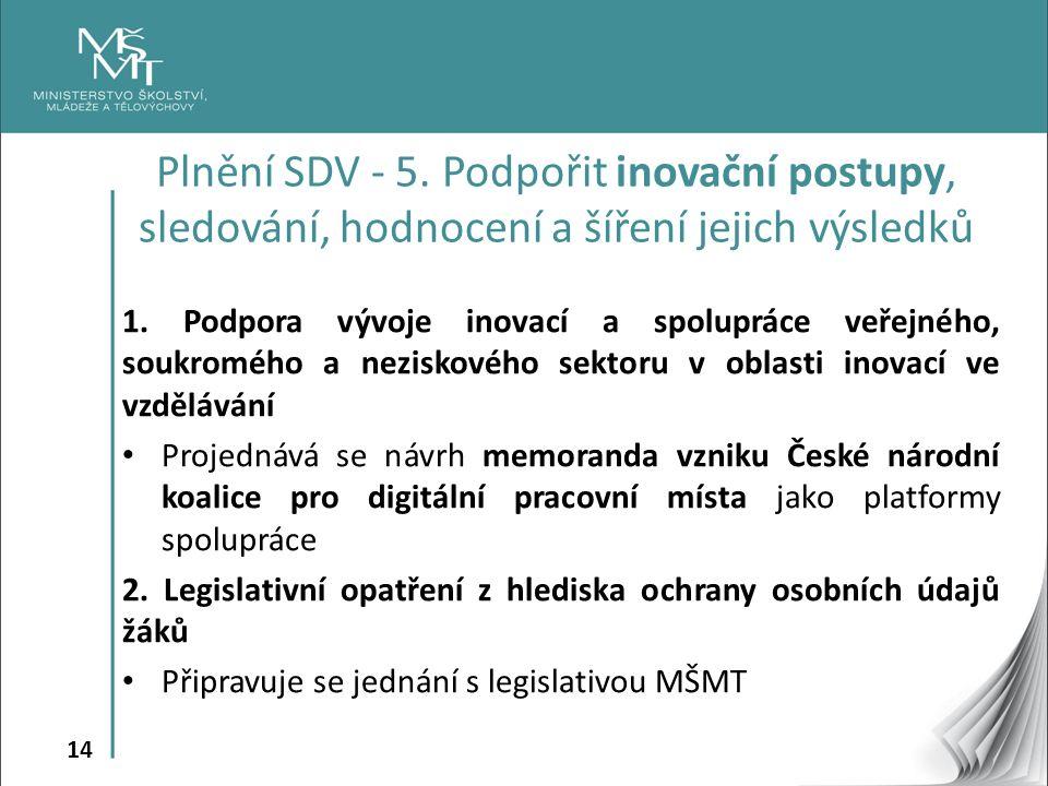 14 1. Podpora vývoje inovací a spolupráce veřejného, soukromého a neziskového sektoru v oblasti inovací ve vzdělávání Projednává se návrh memoranda vz