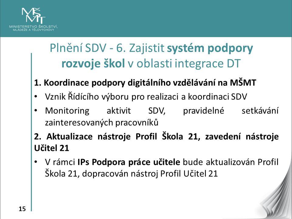 15 1. Koordinace podpory digitálního vzdělávání na MŠMT Vznik Řídícího výboru pro realizaci a koordinaci SDV Monitoring aktivit SDV, pravidelné setkáv