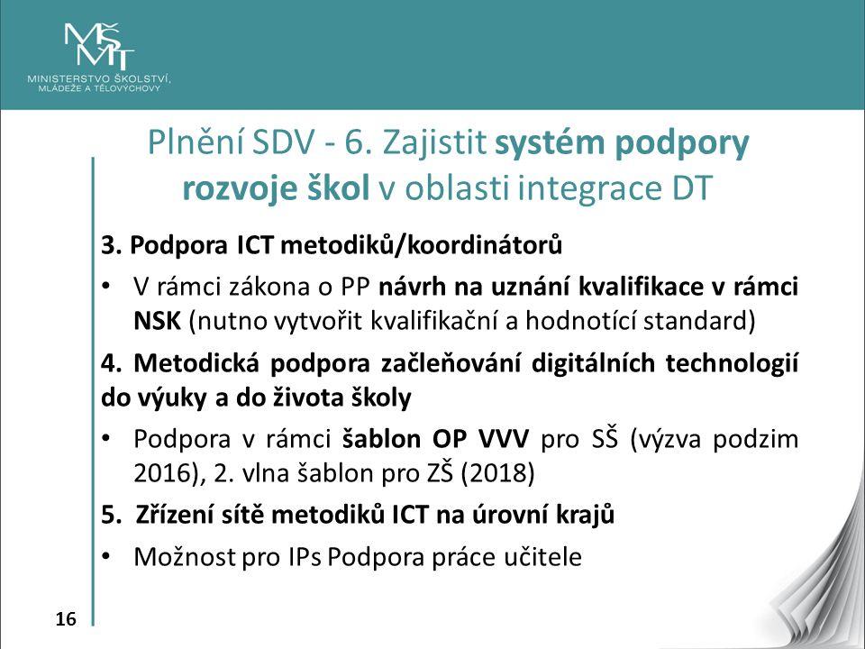 16 3. Podpora ICT metodiků/koordinátorů V rámci zákona o PP návrh na uznání kvalifikace v rámci NSK (nutno vytvořit kvalifikační a hodnotící standard)