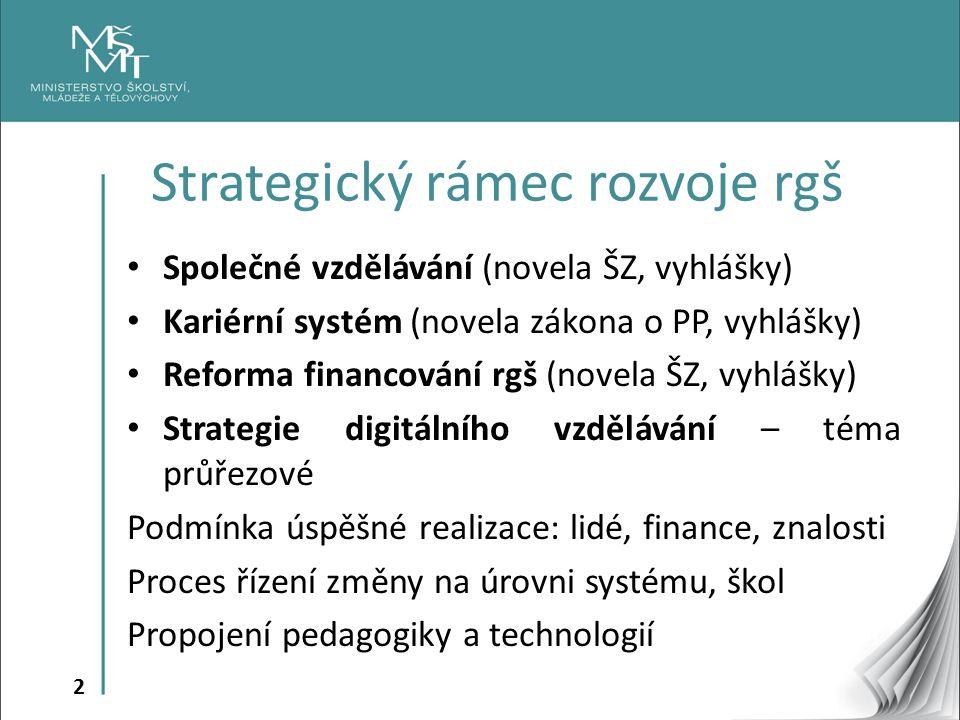 2 Společné vzdělávání (novela ŠZ, vyhlášky) Kariérní systém (novela zákona o PP, vyhlášky) Reforma financování rgš (novela ŠZ, vyhlášky) Strategie dig