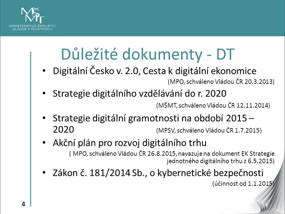 4 Digitální Česko v. 2.0, Cesta k digitální ekonomice (MPO, schváleno Vládou ČR 20.3.2013) Strategie digitálního vzdělávání do r. 2020 (MŠMT, schválen