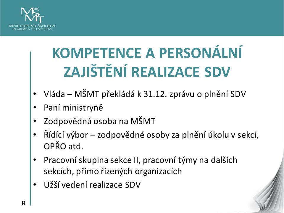 8 Vláda – MŠMT překládá k 31.12. zprávu o plnění SDV Paní ministryně Zodpovědná osoba na MŠMT Řídící výbor – zodpovědné osoby za plnění úkolu v sekci,