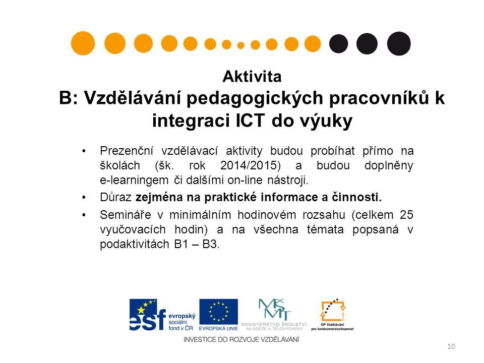 Aktivita B: Vzdělávání pedagogických pracovníků k integraci ICT do výuky Prezenční vzdělávací aktivity budou probíhat přímo na školách (šk.
