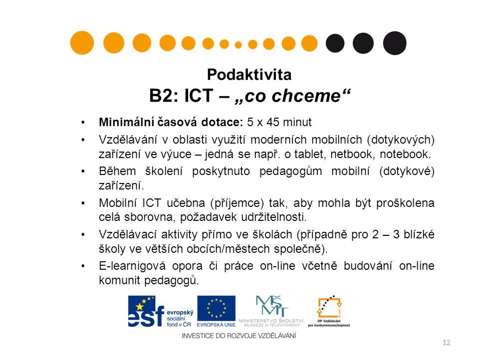 """Podaktivita B2: ICT – """"co chceme Minimální časová dotace: 5 x 45 minut Vzdělávání v oblasti využití moderních mobilních (dotykových) zařízení ve výuce – jedná se např."""