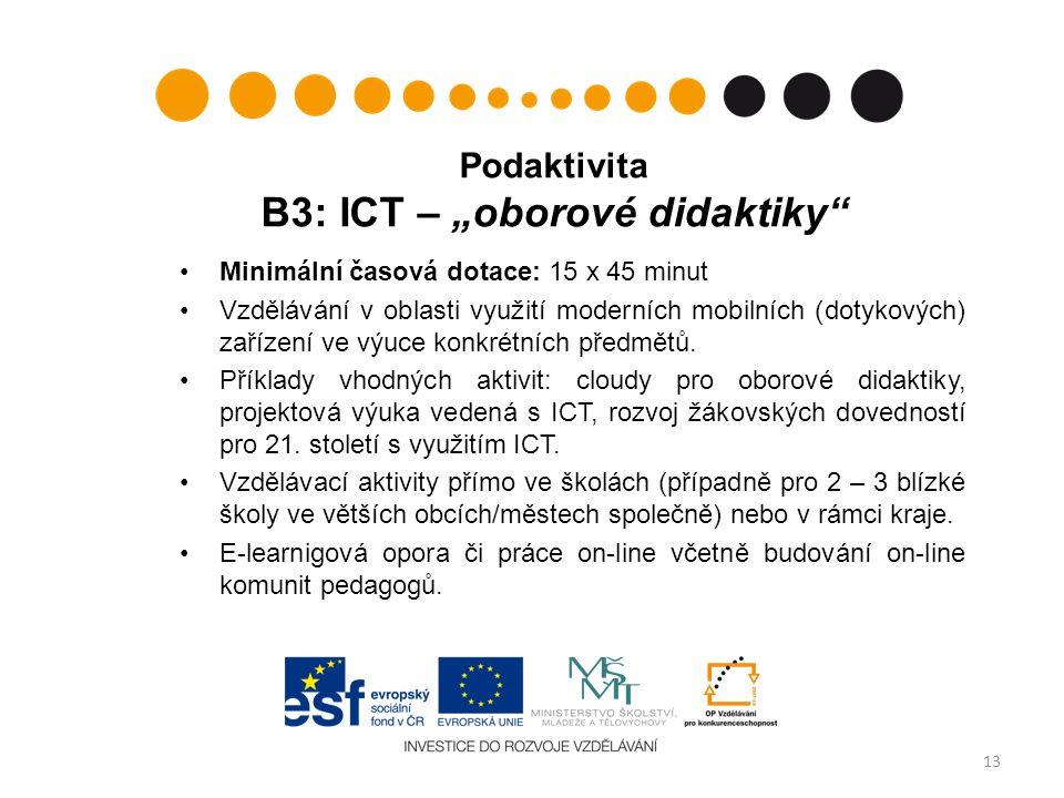"""Podaktivita B3: ICT – """"oborové didaktiky Minimální časová dotace: 15 x 45 minut Vzdělávání v oblasti využití moderních mobilních (dotykových) zařízení ve výuce konkrétních předmětů."""