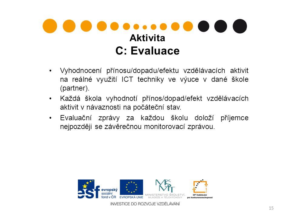 Aktivita C: Evaluace Vyhodnocení přínosu/dopadu/efektu vzdělávacích aktivit na reálné využití ICT techniky ve výuce v dané škole (partner).