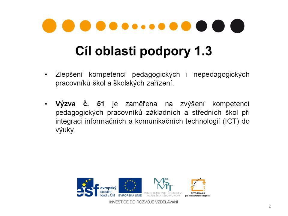 Cíl oblasti podpory 1.3 Zlepšení kompetencí pedagogických i nepedagogických pracovníků škol a školských zařízení.