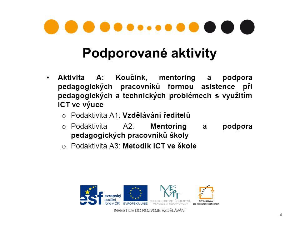 Podporované aktivity Aktivita A: Koučink, mentoring a podpora pedagogických pracovníků formou asistence při pedagogických a technických problémech s využitím ICT ve výuce o Podaktivita A1: Vzdělávání ředitelů o Podaktivita A2: Mentoring a podpora pedagogických pracovníků školy o Podaktivita A3: Metodik ICT ve škole 4