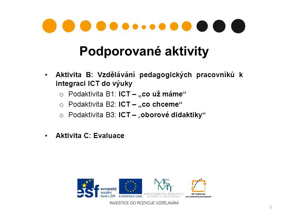 """Podporované aktivity Aktivita B: Vzdělávání pedagogických pracovníků k integraci ICT do výuky o Podaktivita B1: ICT – """"co už máme o Podaktivita B2: ICT – """"co chceme o Podaktivita B3: ICT – """"oborové didaktiky Aktivita C: Evaluace 5"""