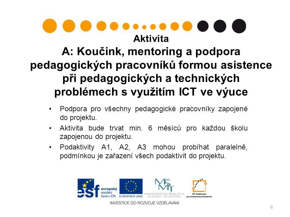 Podaktivita A1: Vzdělávání ředitelů Povinná vzdělávací aktivita: proškolení v oblasti zadávání veřejných zakázek dle postupu uvedeného v Příručce pro příjemce v kap.