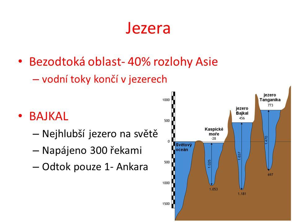 Jezera Bezodtoká oblast- 40% rozlohy Asie – vodní toky končí v jezerech BAJKAL – Nejhlubší jezero na světě – Napájeno 300 řekami – Odtok pouze 1- Anka